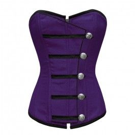 Corset-Story // ND-139 - Purple Corset with Button Down Placket - Steel boned overbust corsets - Steel Boned Corsets