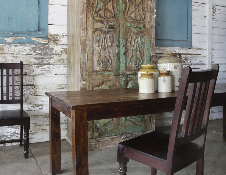 Distressed Rosewood Table Chairs And Old Door One Of A Kind Cabinet