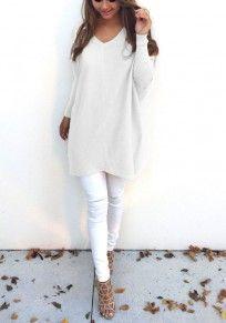 White Plain V-neck Long Sleeve Loose Pullover Sweater