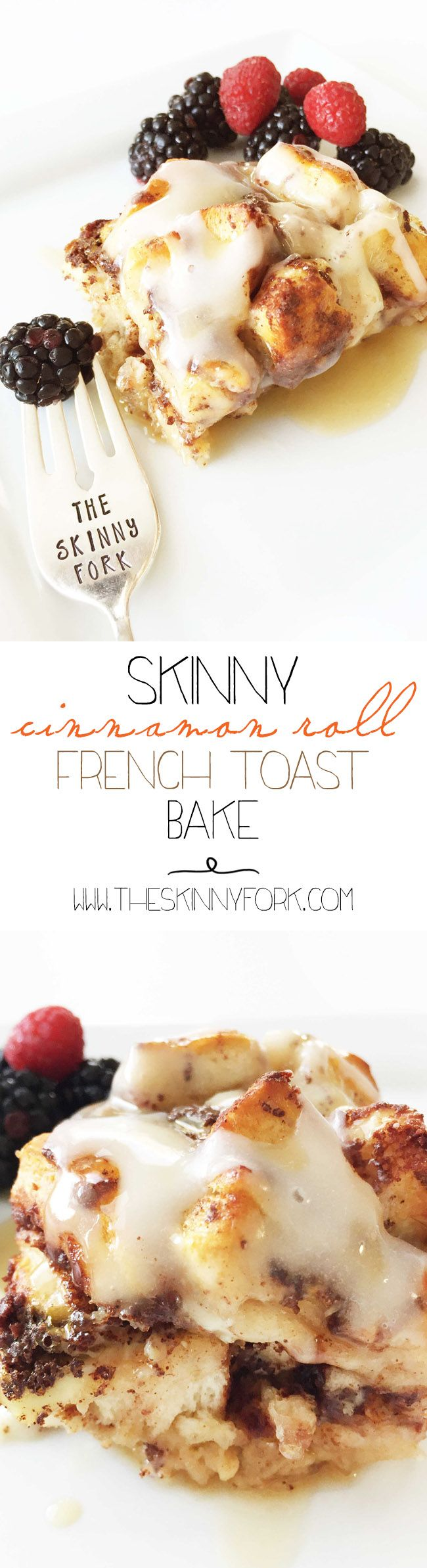 Skinny Cinnamon Roll French Toast Bake - Two of the best things in the world for breakfast, combined into one perfect morning treat. TheSkinnyFork.com