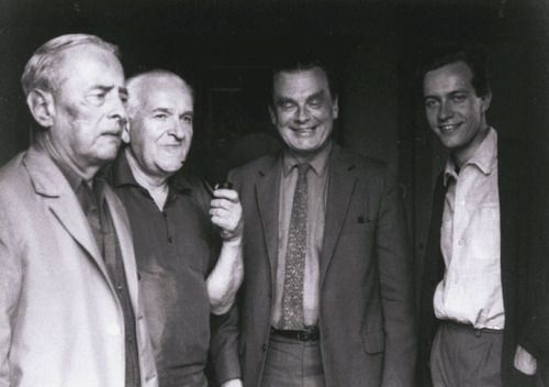 Witold Gombrowicz with painter Jozef Jarema, Czeslaw Milosz, and Alastair Hamilton in Vence, May 1967 -by Oswald Malura
