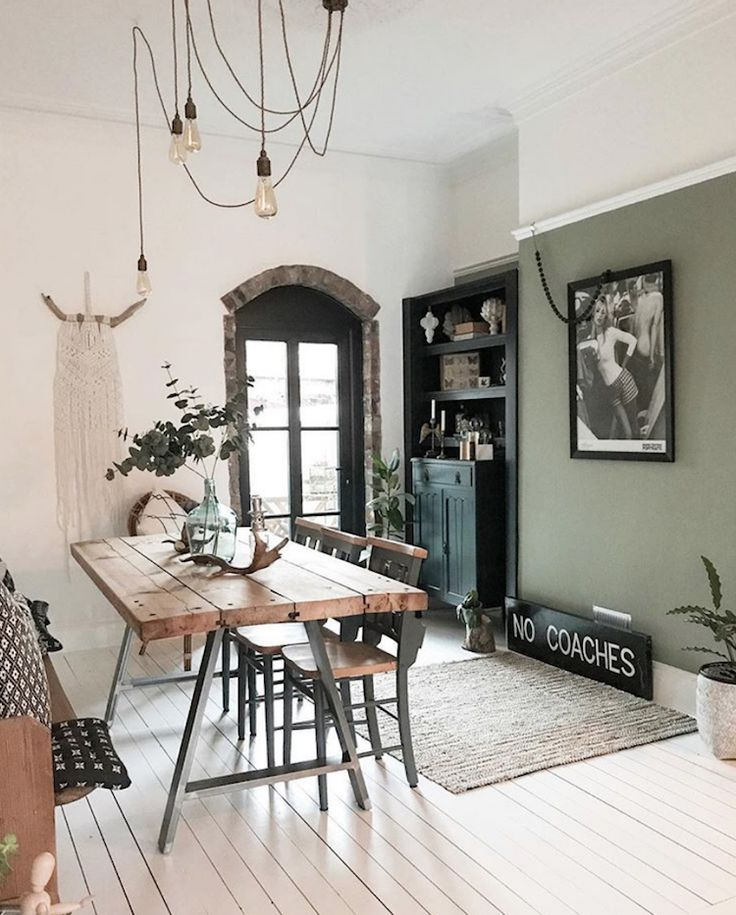 modern rustic with sage green wall by pips home