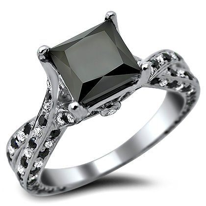 Black Diamond Engagement Rings Image Description Princess Cut Ring White Gold With A Center And Of Surrounding