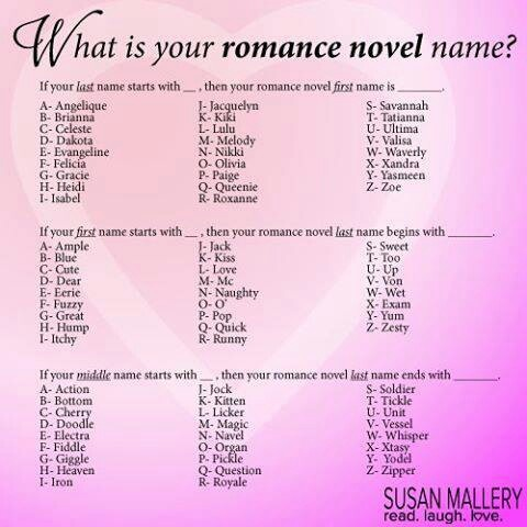 Romance Novel Name Funny Names Funny Name Generator Names