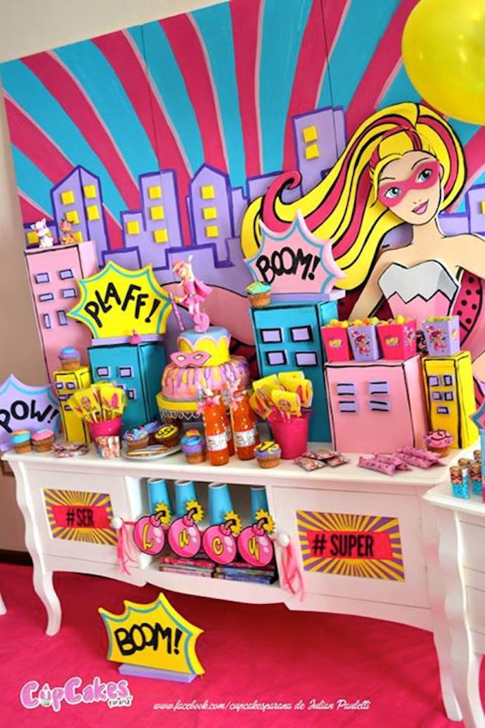 Dessert Table from a Superhero Barbie Birthday Party via Kara's Party Ideas | KarasPartyIdeas.com (29)