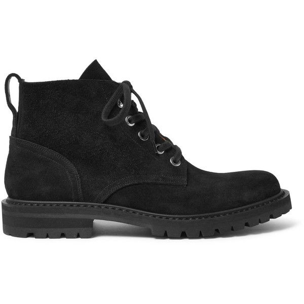 Dries Van Noten Suede Boots ($760) ❤ liked on Polyvore featuring men's fashion, men's shoes, men's boots, mens black boots, mens black shoes, mens black suede chelsea boots, mens suede boots and dries van noten mens shoes