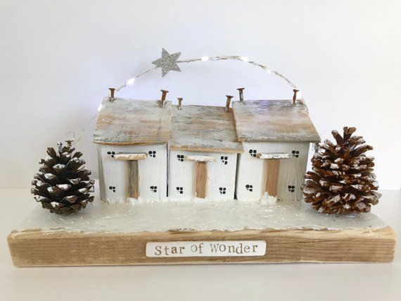 Light Up Wooden Christmas Houses Handcrafted Driftwood Art Original Driftwood Christmas Decorations Wooden Christmas Decorations Christmas Crafts Decorations