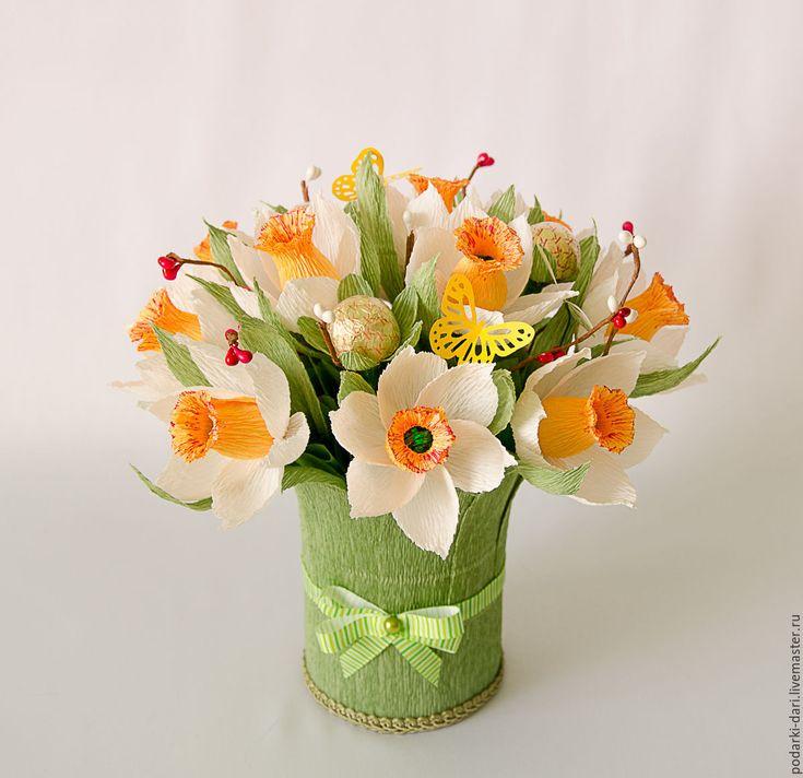 Купить Нарциссы. Букет из конфет - 8 марта, для женщин, желтый, подарок девушке, нарцисс, выпускной