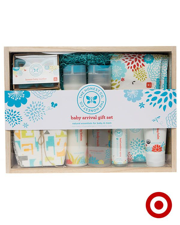 The Honest Company Baby Arrival Gift Set includes 7 non-toxic must-haves for Baby and Mom. The set includes safe and natural products, wrapped in a reusable wooden box.
