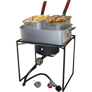 Propane Deep Fryer   2 Basket   54,000 BTU   Outdoor