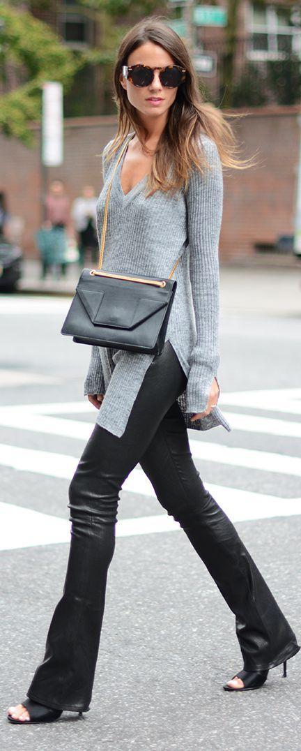 Look de inverno preto com cinza mais bolsa tranpassada