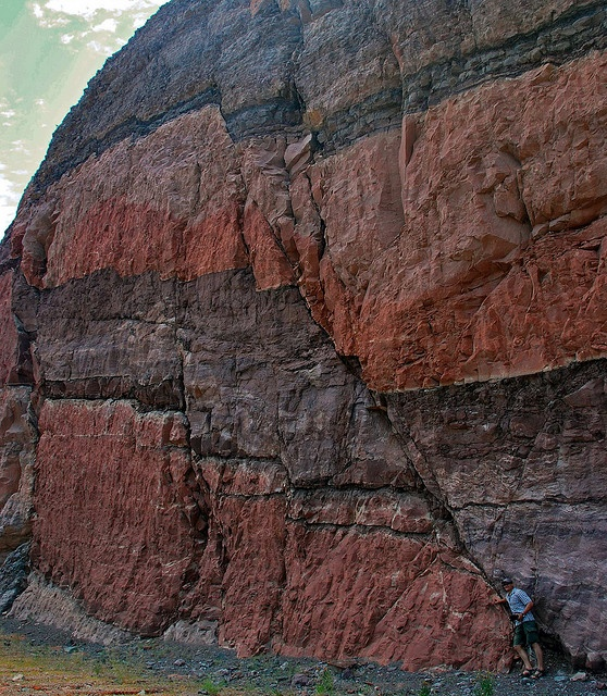 Faults are breaks along which rocks move at different rates, pushed by regional pressures. Some faults are very short, others are hundreds of miles in length. These layers show the amount of relative offset (movement) between two sides, plus a teeny geologist at lower right.