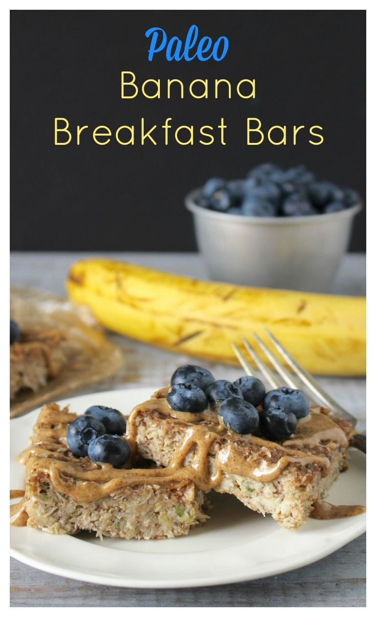 Paleo Banana Breakfast Bars- a healthy breakfast made with no oil or butter, naturally sweetened and so delicious!