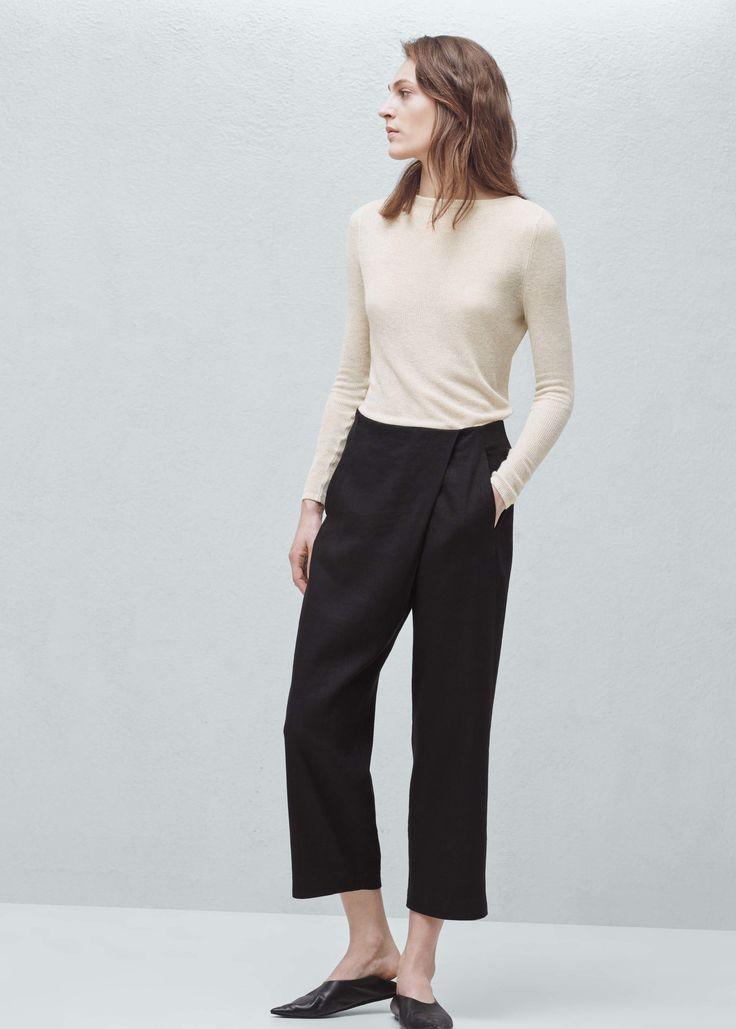 Premium - льняные брюки с косым гульфиком - Брюки  - Женская   MANGO МАНГО Россия (Российская Федерация)