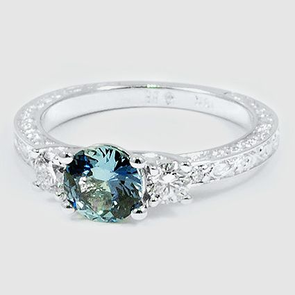 Sapphire Antique Scroll Three Stone Trellis Ring (1/3 ct. wt.) in 18K White Gold, 6mm Round Blue Sapphire