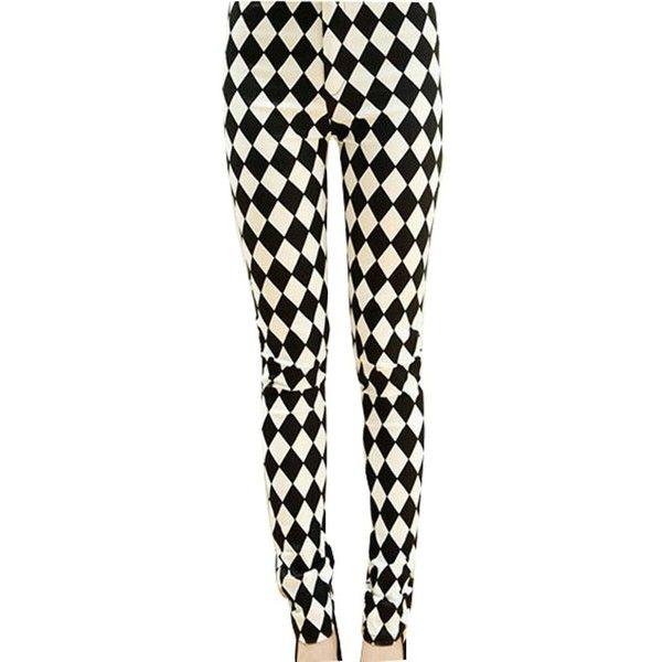 Fashion Womens Black-white Diamond Print Leggings Skinny Pants Tights... ($6.99) ❤ liked on Polyvore featuring pants, leggings, print skinny pants, skinny pants, patterned pants, legging pants and patterned trousers