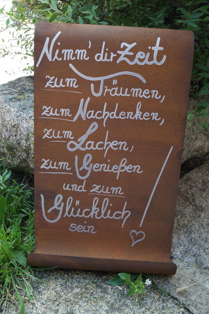 Edelrost Tafel Nimm dir Zeit..Spruch Garten Metall…