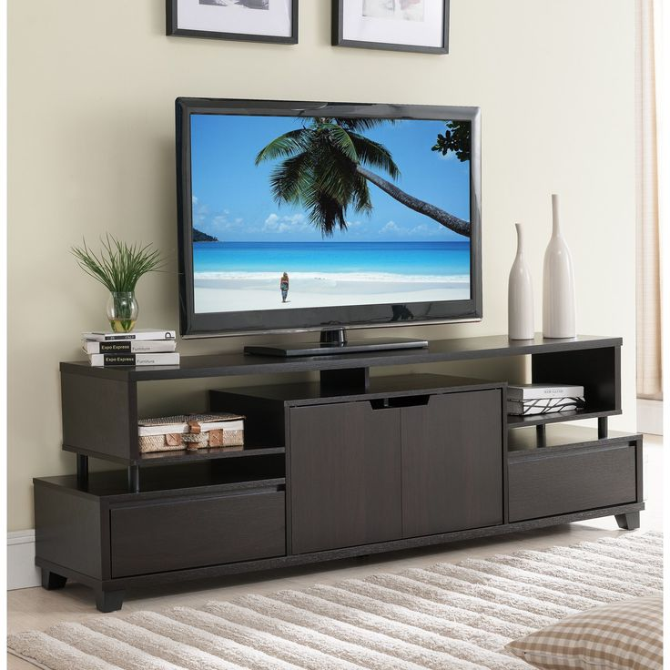 Furniture of America Alise Modern Tiered Storage Cappuccino 70-inch TV Stand (Cappuccino), Brown