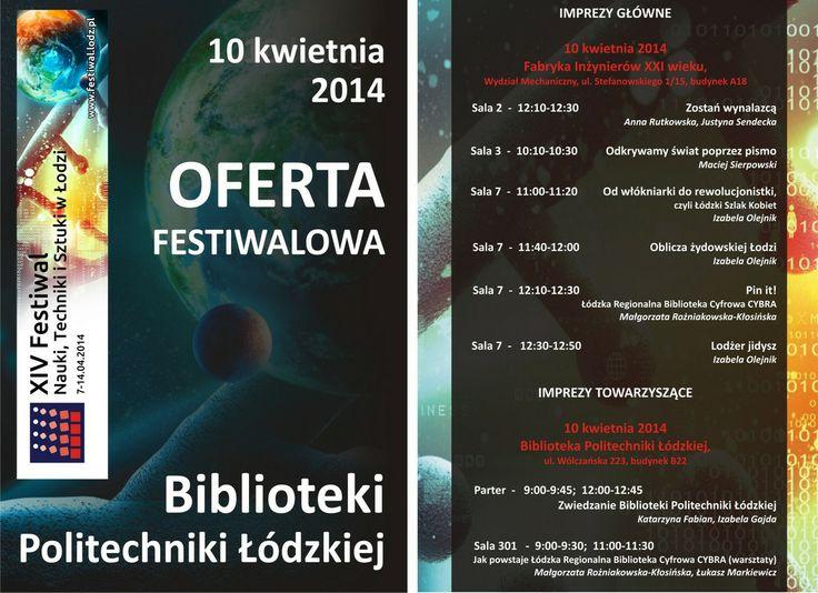 Program imprez organizowanych przez BPŁ na XIV Festiwal Nauki, Techniki i Sztuki w Łodzi, 7-14 kwietnia 2014 r.