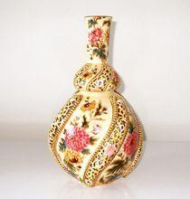 Antique Zsolnay Lamp Base Moorish Style Gilded and Pierced, Hungary