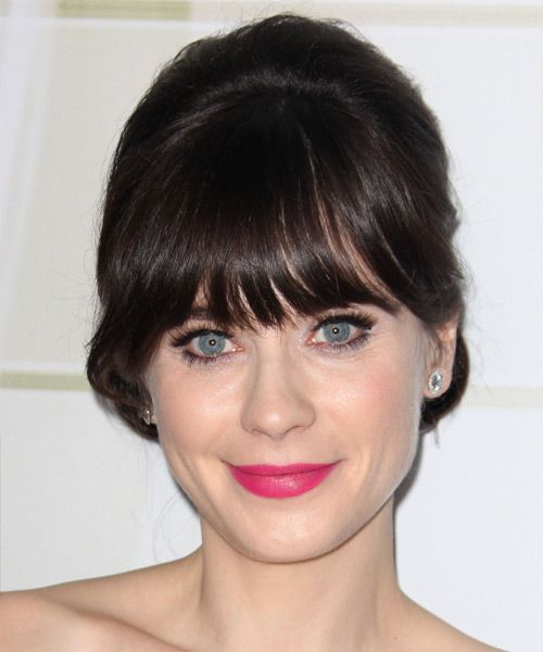 Zooey Deschanel Long Straight Formal Updo Hairstyle with Blunt Cut Bangs – Dark Mocha Brunette Hair Color