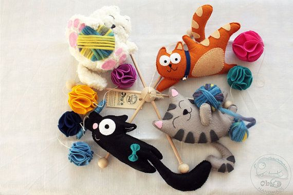 Hey, I found this really awesome Etsy listing at https://www.etsy.com/listing/227735401/felt-mobile-with-cats-felt-kittens
