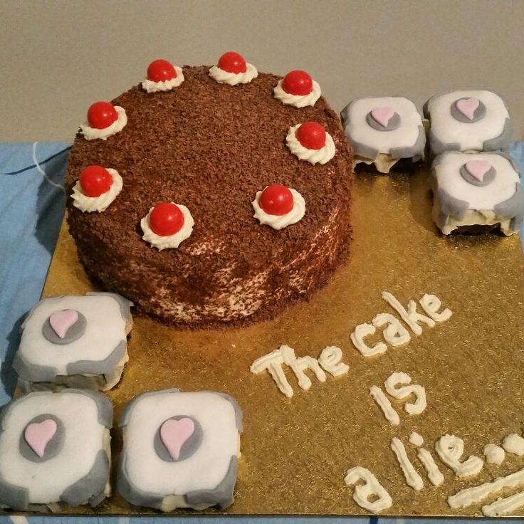 Portal 2  cake and companion cubes www.facebook.com/kelseymaycakes