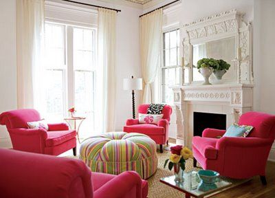 "Hot Pink Velvet Chairs... Love the placement and number, surrounding the pretty oversized ottoman.  A pretty room...and the hot pink isn't ""over the top"".  -  deardesigner.blogspot.com"