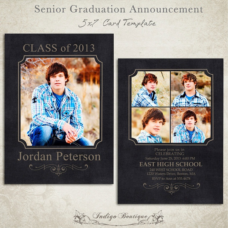 104 best Guys - Graduation Announcements images on Pinterest - graduation announcement template