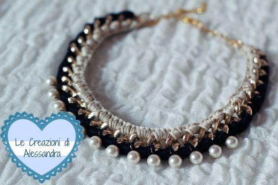 Collana con catena e perle Swarovsky di MoryandAleCreations