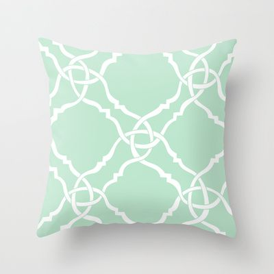 classic modern lattice in pale mint green Throw Pillow by aygeartist - $20.00