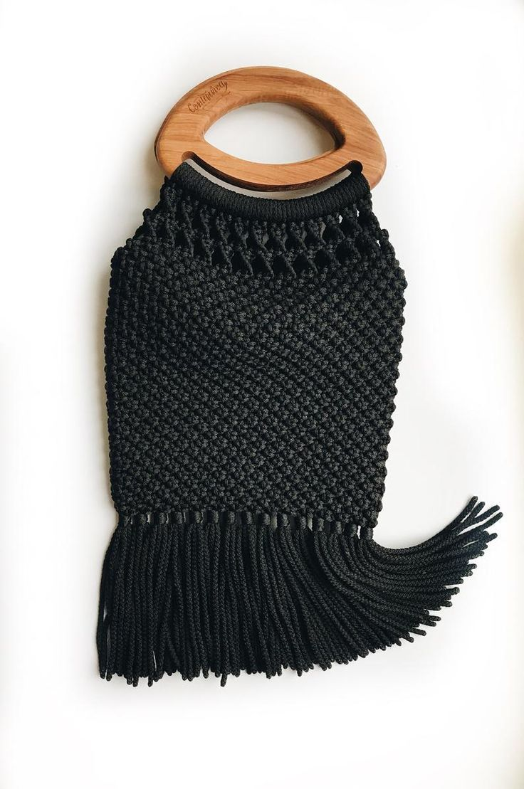 Bag Black Handbag Handic Handle Macrame Purse Wood Macrame Bag Macrame Purse Wood Handle Bag B Crochet Bag Crochet Bag Pattern Knitting Bag Pattern