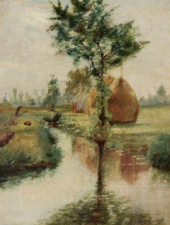 Stacks over a stream / Stogi nad strumieniem, 1890, Władysław Podkowiński