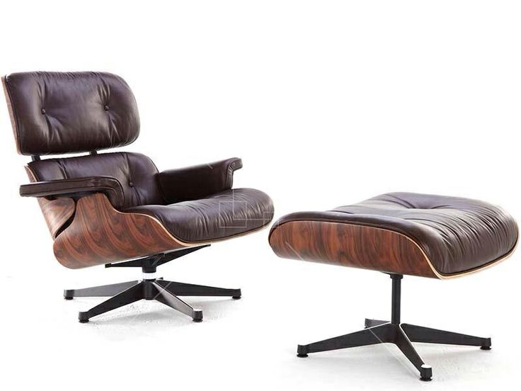 Lounge Chair & Ottoman - Rosewood -Antique Chocolate Aniline Leather