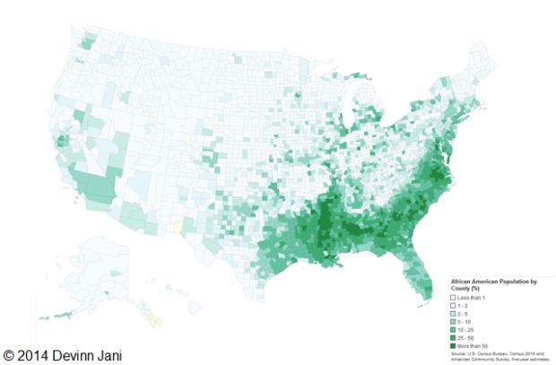 U.S. Population Distribution by Race African American Population by County | Mental Floss