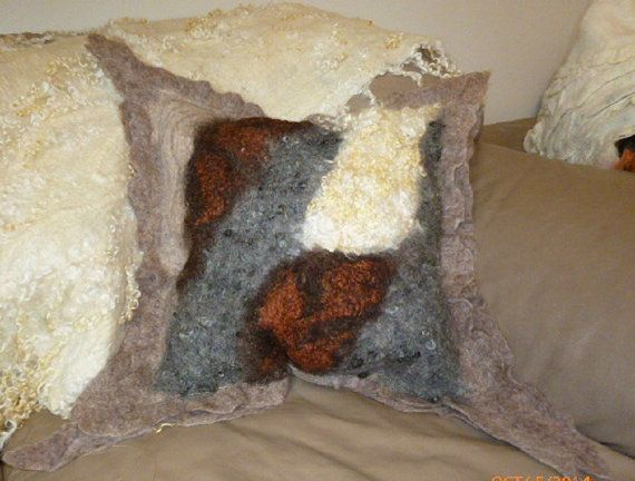 Felted Pillow cover,Felted Cushion cover, natural,hand felted,hand sewn, handmade, felted, unique and cosy , home  accessories