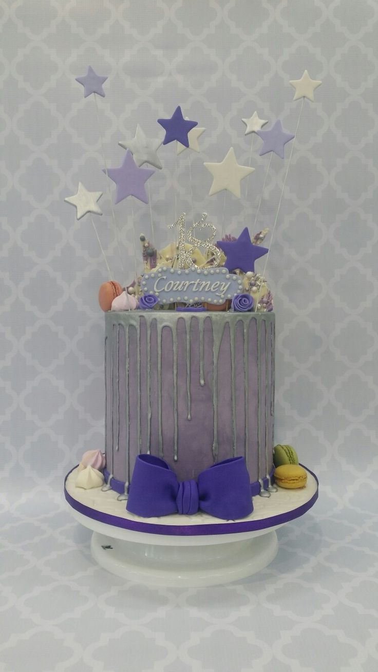 18th birthday cake purple double barrell drip cake made by me!