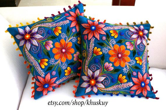 Peruvian Pillow cushion covers Hand embroidered flowers Sheep & alpaca wool 16 x 16 handmade 2 blue