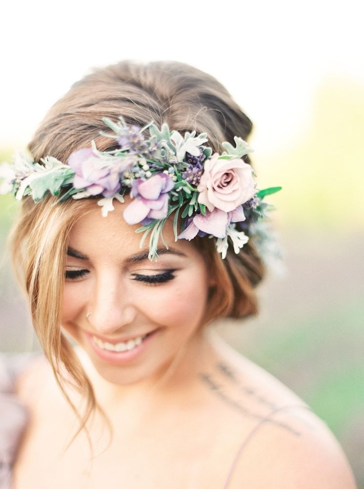 Photography : Julie Paisley | Wedding Dress : Gossamer | Hair And Makeup : Styled By Chrystal | Floral Design : Stemm Floral Read More on SMP: http://www.stylemepretty.com/2015/10/07/ethereal-lavender-field-wedding-inspiration/
