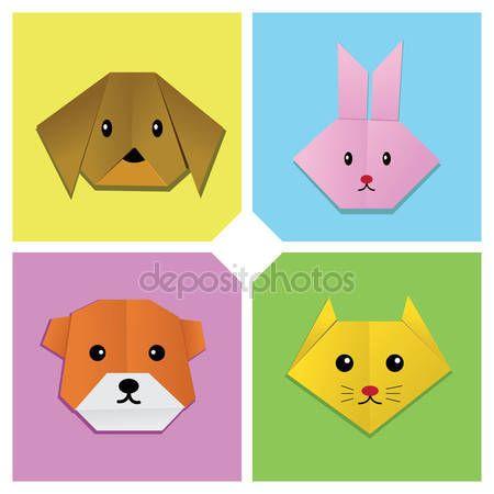 Stáhnout - Origami zvířecí hlava 1 — Stocková ilustrace #14329599