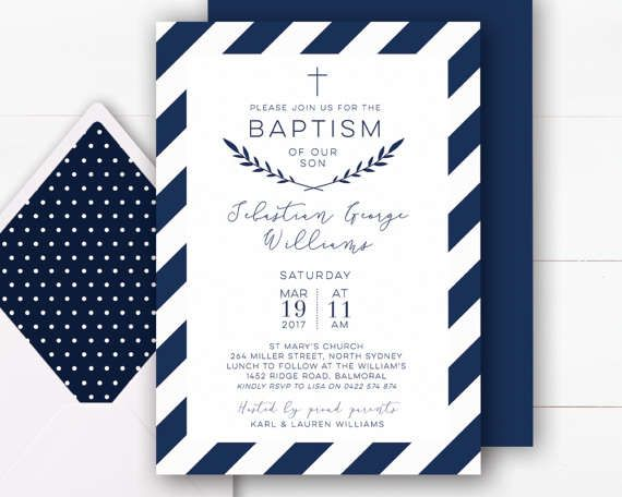 Boy Baptism Invitation | Navy Baptism Invitation Boy | Baptism Invite | Christening Invitations | Baptism Invitations Printable | Navy and White Invite your loved ones to join you in celebrating your childs baptism with this elegant navy and white 5 x 7 inch digital invitation featuring a deep navy stripe with a coordinating navy back design. This invitation will be personalised with your custom text for your special event. I will then send you a message via Etsy/email with a proof of ...