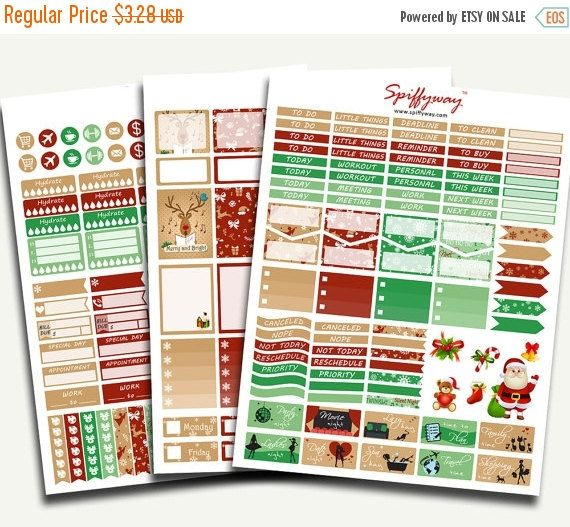 50% SALE December Planner Stickers  Christmas Planner by Spiffyway