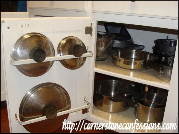 Curtain Rods to Organize Pan Lids - 150 Dollar Store Organizing Ideas and Projects for the Entire Home