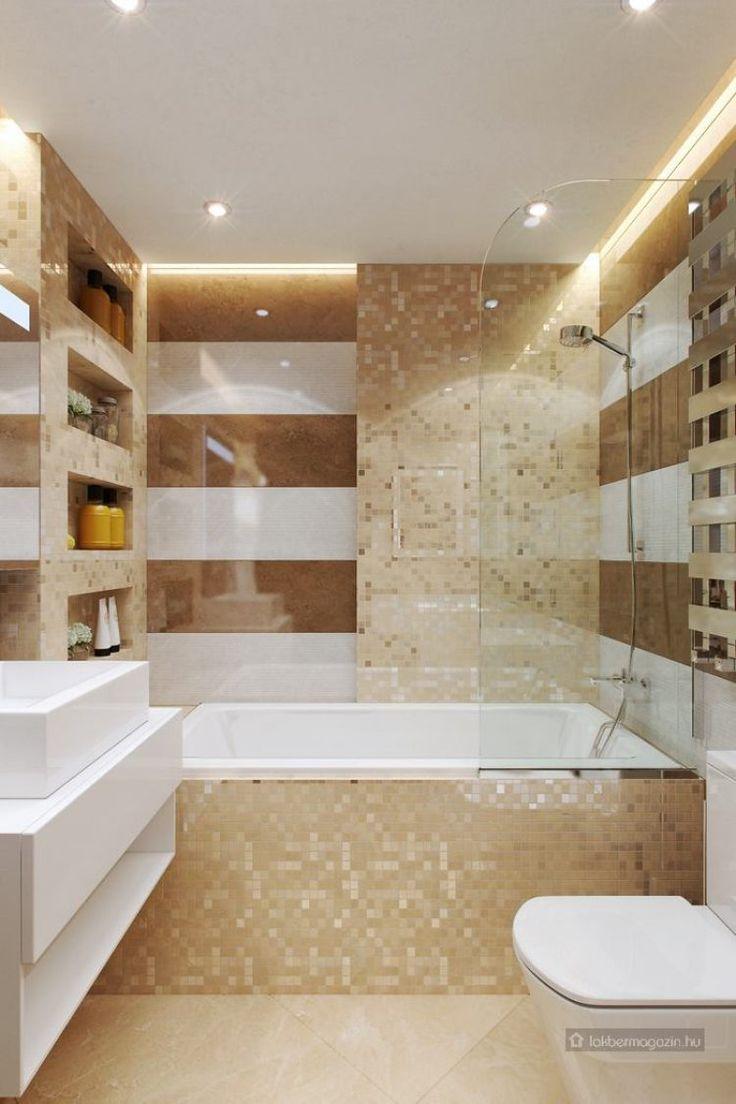 látványos burkolatok, meleg színek, gyönyörű mozaik, kontrasztban a fehér elemekkel - kis fürdőszoba ötletek