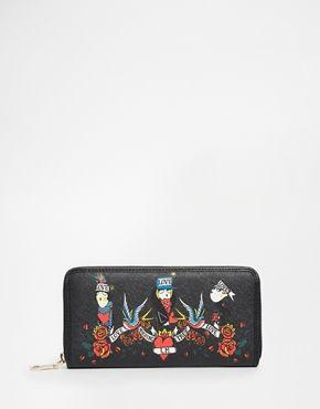 Love Moschino - Porte-monnaie à fermeture éclair sur le pourtour et motif tatouages