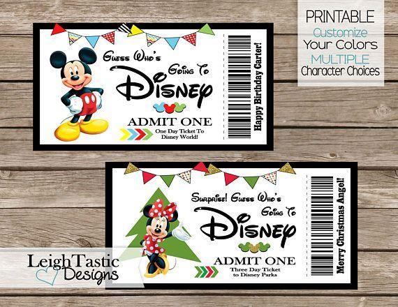 Printable Ticket Birthday Invitation Surprise Disney Ticket Disney Tickets Disney Trip Reveal Disney Trip Surprise