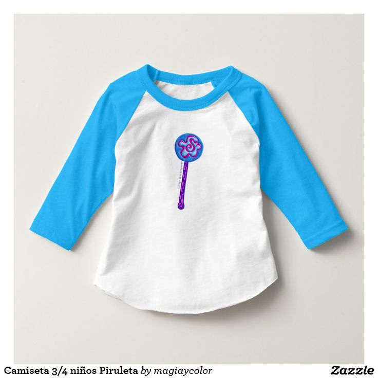 Camiseta 3/4 niños Piruleta. Divertido diseño y dulces colores - Lollipop t-shirt for kids. Funny and sweet design!