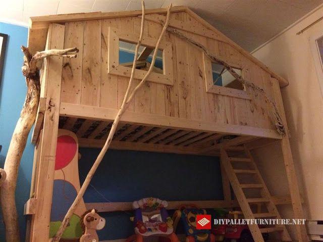 Mueblesdepalets.net: Cama casita hecha con madera recuperada