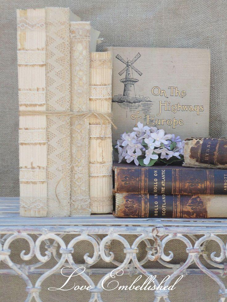 Antique Lace Trim Book Bundles Vintage Early Mid Century Distressed Book Stack Romantic Shabby Chic Decor - Bookshelf Decoration  No 3. $24.00, via Etsy.