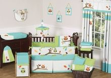 Gender neutral nursery: Turquoise and Lime Hooty Owl Baby Bedding - 9 pc Crib Set